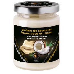 White chocolate spread with coconut and rum